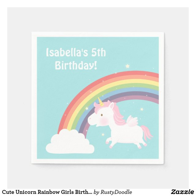 Cute Unicorn Rainbow Girls Birthday Party Paper Napkins