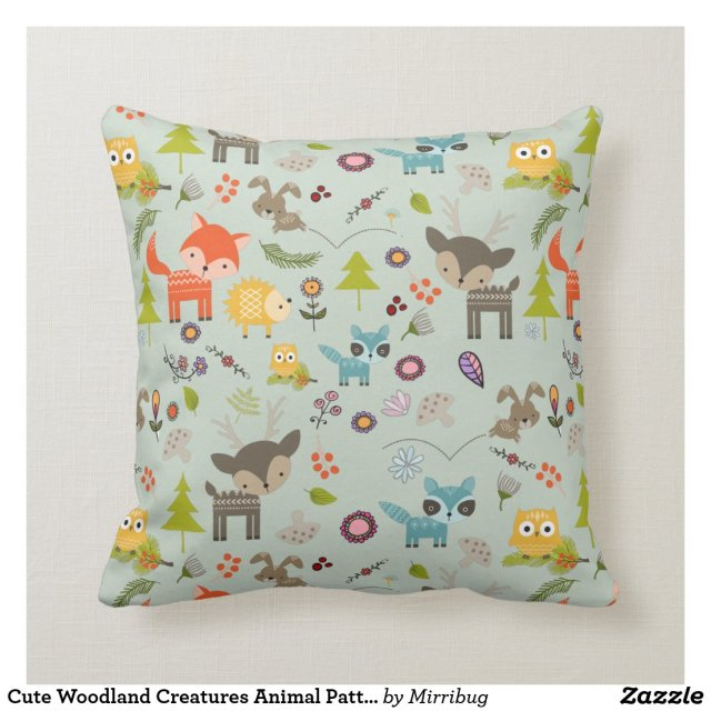 Cute Woodland Creatures Animal Pattern Cushion