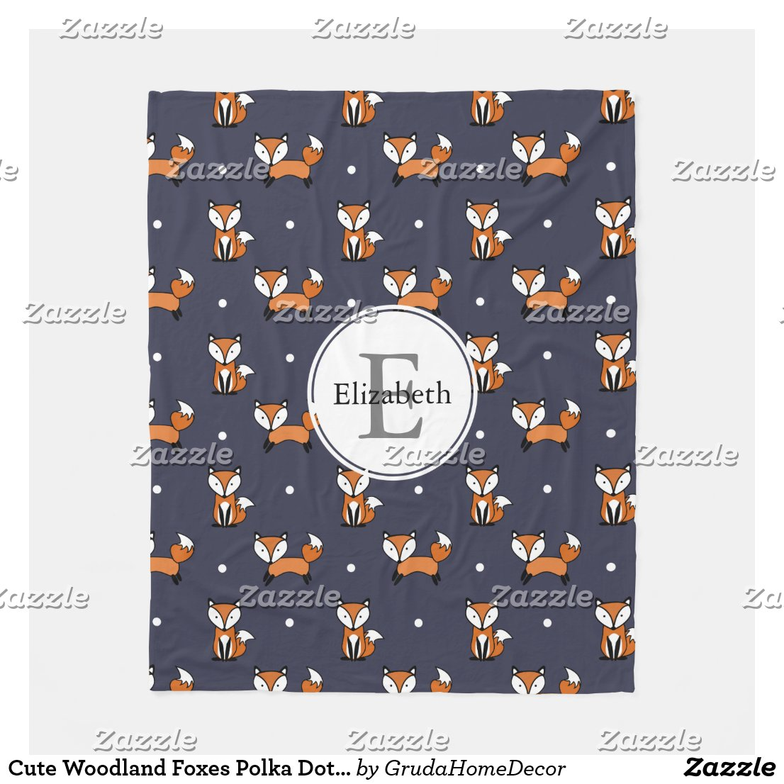 Foxes Polka Dots Blanket