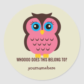 Cutesy Owl THIS BELONGS TO Stickers