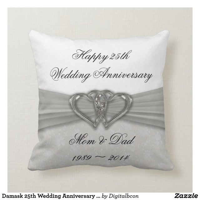 Damask 25th Wedding Anniversary Pillow