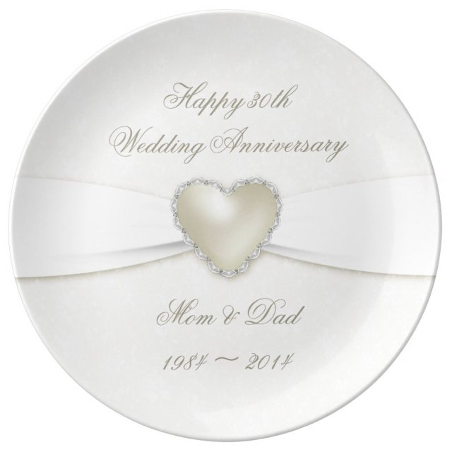 Damask 30th Wedding Anniversary Porcelain Plate