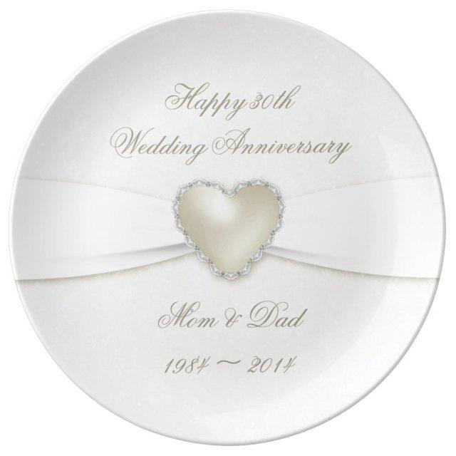 Damask 30th Wedding Anniversary Porcelain Plate