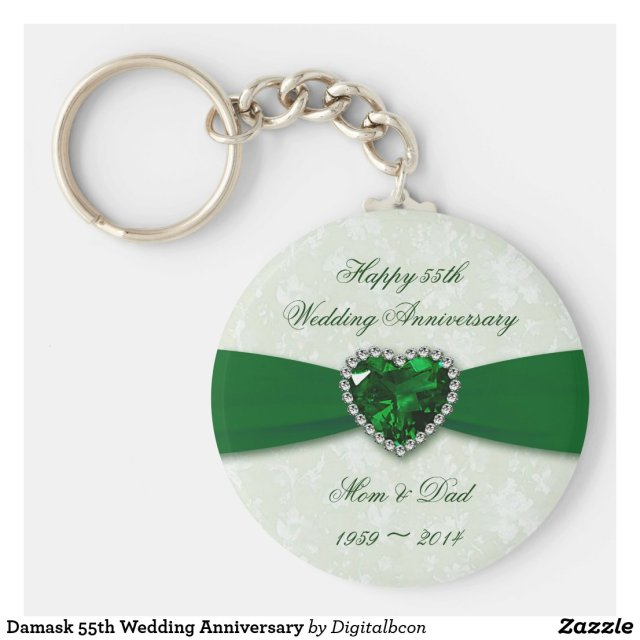 Damask 55th Wedding Anniversary Keyring