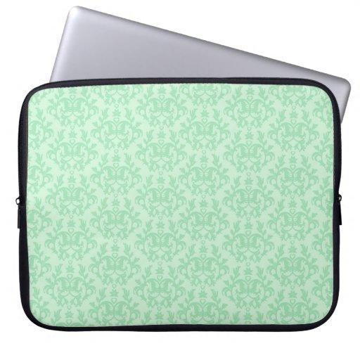 Damask quotKangaroo Pawquot mint green laptop case Laptop Sleeve