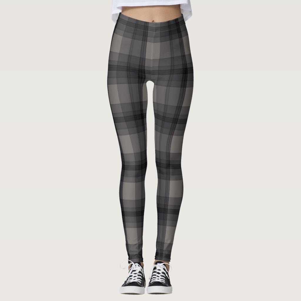 Dark Grey Plaid Leggings