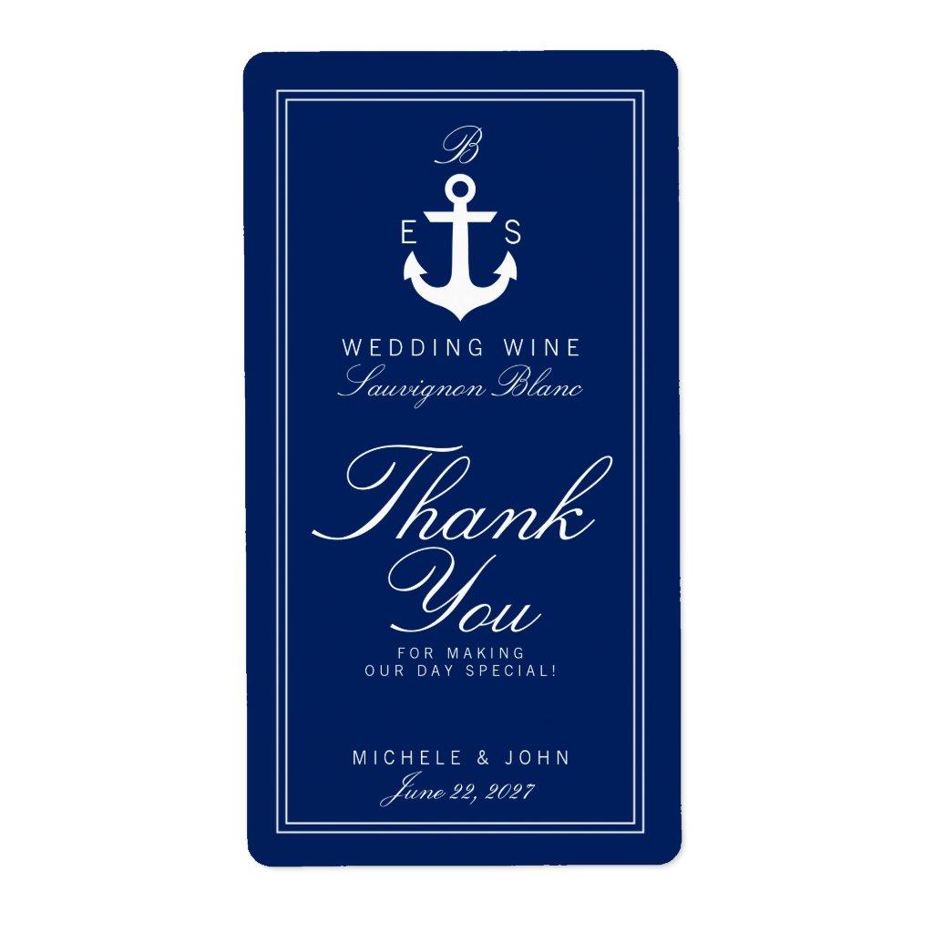 Dark Nautical Monogram Wedding Wine Custom Label