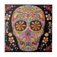 Day of the Dead Sugar Skull Ceramic Tile   Zazzle