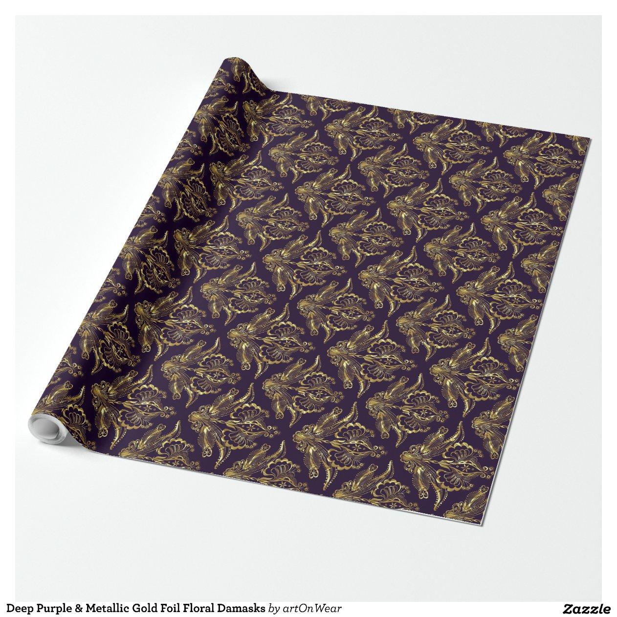 Deep Purple & Metallic Gold Foil Floral Damasks Wrapping Paper Zazzle