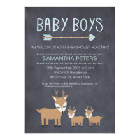 Deer Twin Boys Chalkboard Baby Shower Invitation