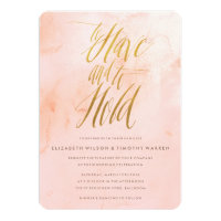 Delicate Paint Blush and Gold Wedding Invitation
