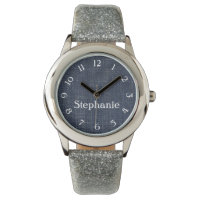 Denim and Silver Personalized Watch