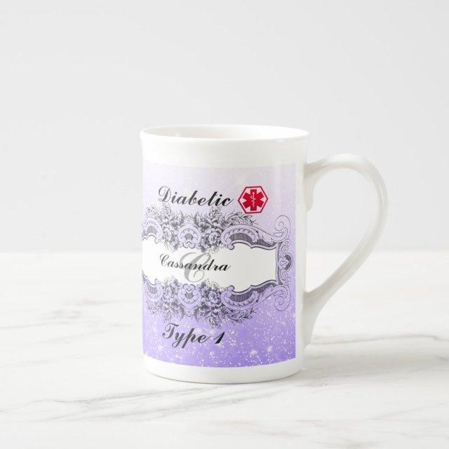 Diabetic Alert Type 1 or  Personalised Monogrammed Tea Cup