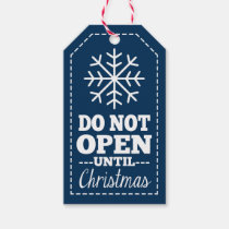Do Not Open Until Christmas Snowflake - navy blue Pack Of Gift Tags