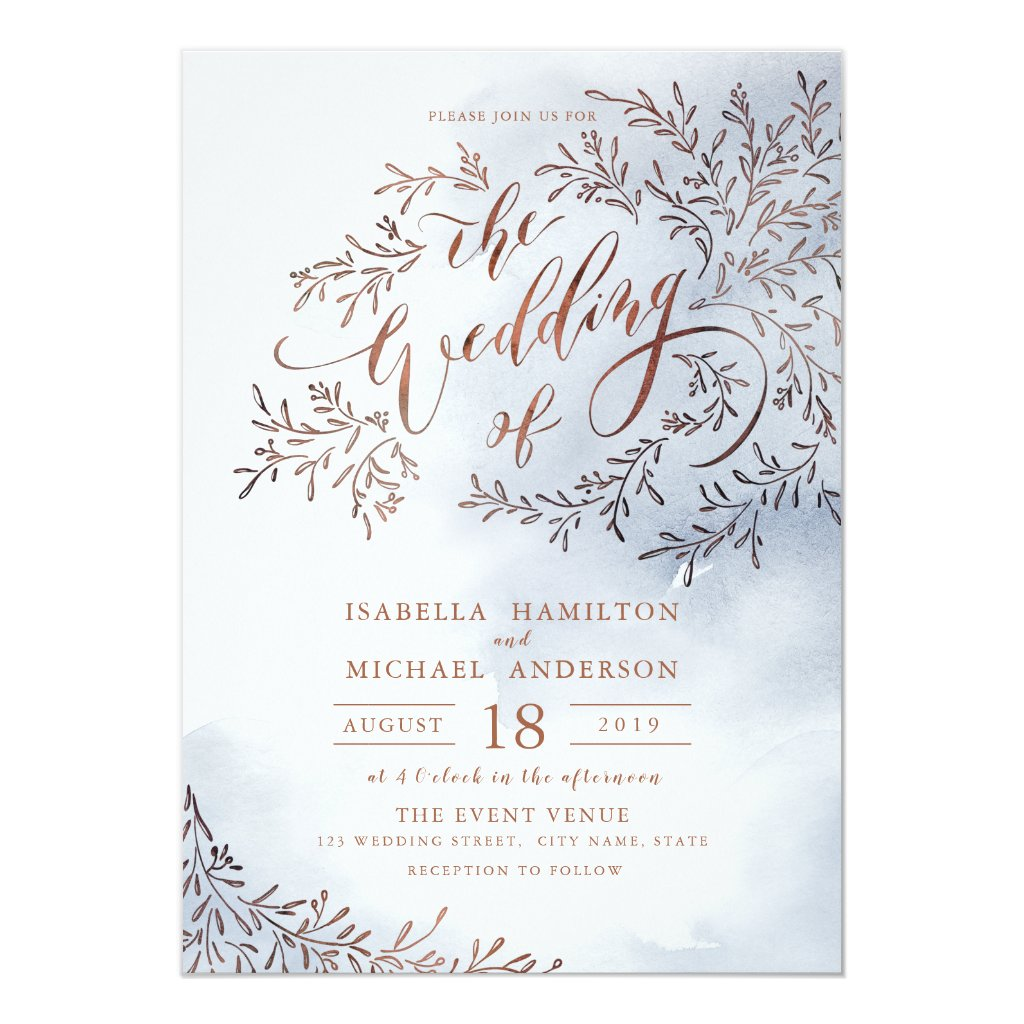 Dusty blue calligraphy rustic floral wedding