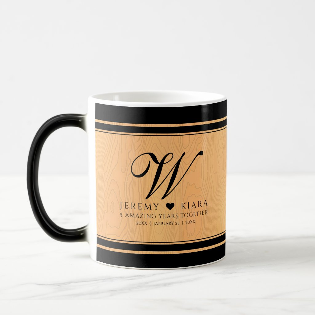 Elegant 5th Wood Wedding Anniversary Celebration Magic Mug