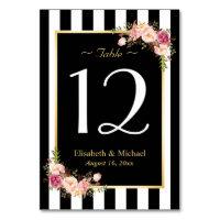 Elegant Black White Floral Wedding Table Number Card