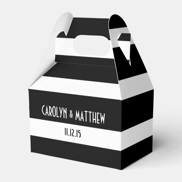 Elegant Black White Stripes Favour Box