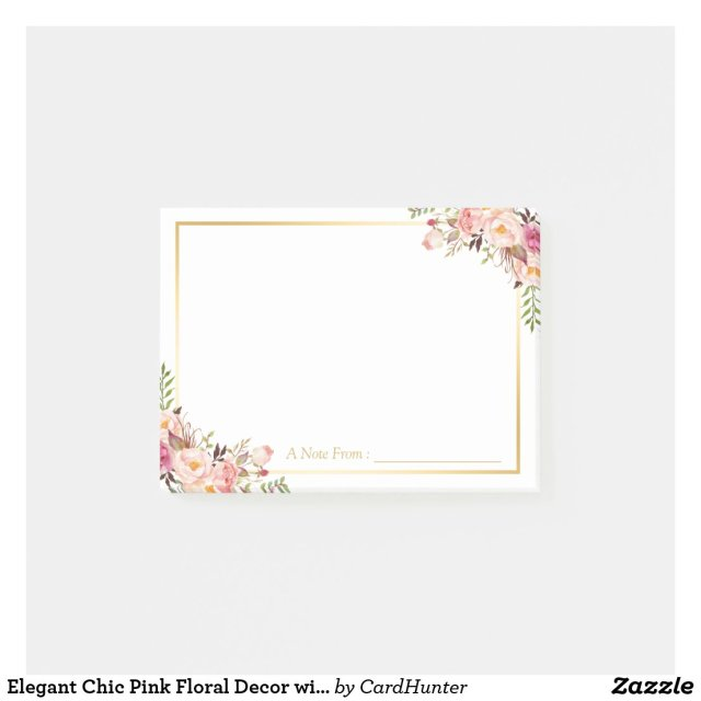 Elegant Chic Pink Floral Decor with Gold Frame Post It Notes