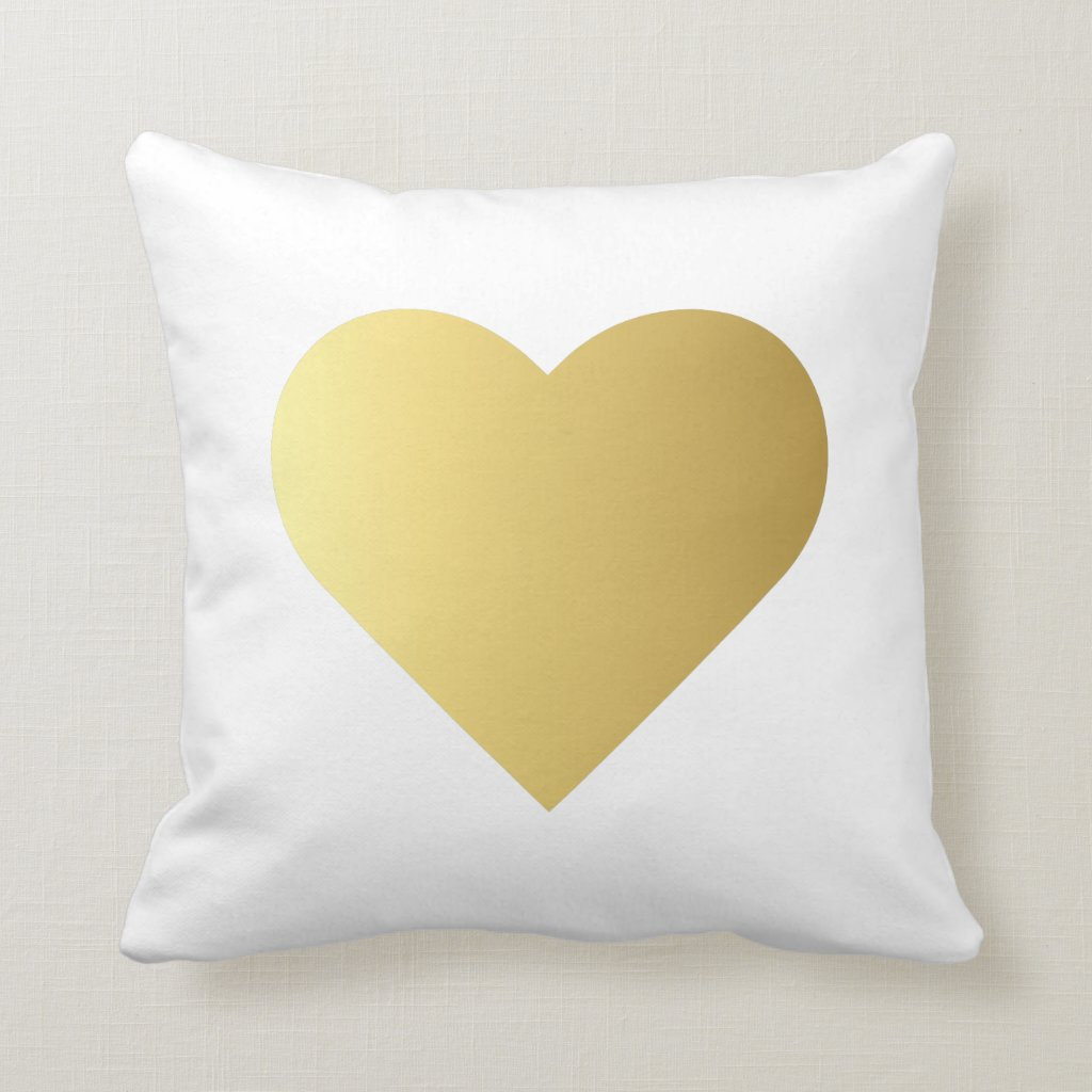 Elegant Faux Gold Heart Cushion