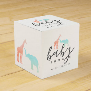 Elegant Giraffe Elephant Baby Shower Favour Box