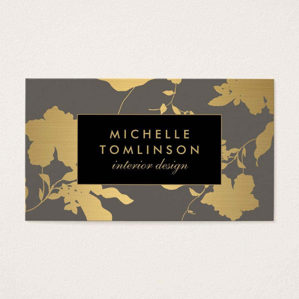 Elegant Gold Floral Pattern Grey Designer