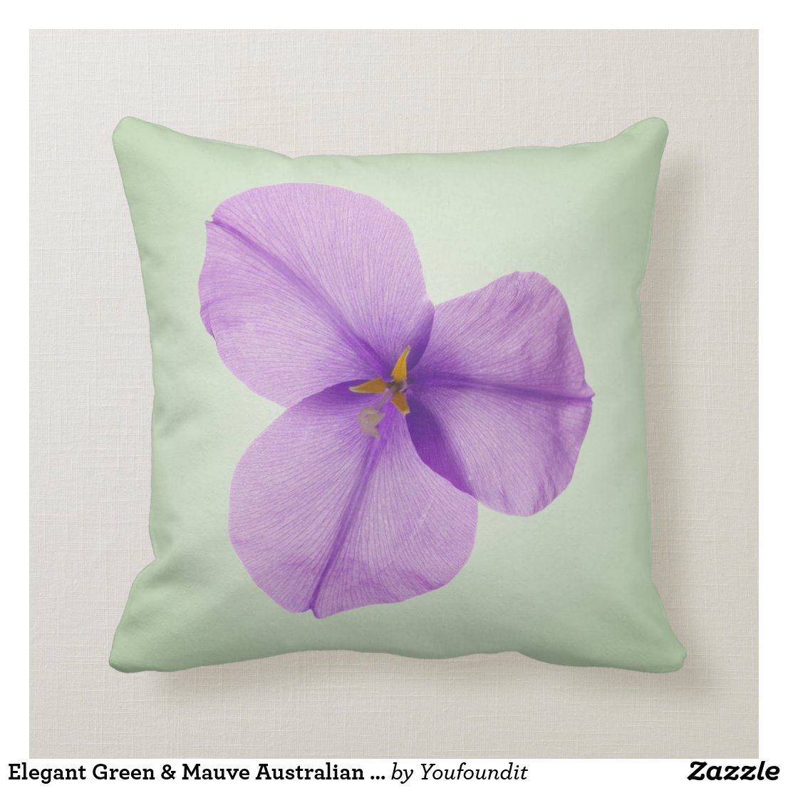 Elegant Green & Mauve Australian Native flower Cushion
