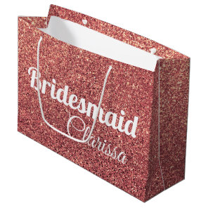 elegant modern chick rose gold glitter bridesmaid large gift bag