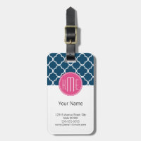 Elegant Navy Blue Quatrefoil with Pink Monogram Bag Tags