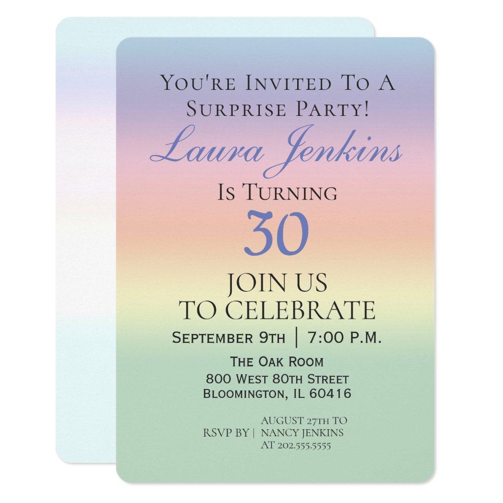 Elegant Pastel Surprise 30th Birthday Party Invitation