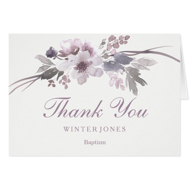 Elegant Purple Floral Baptism Thank You Card