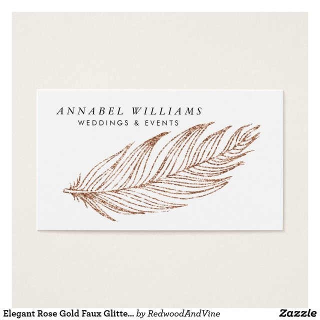 Elegant Rose Gold Faux Glitter Feather
