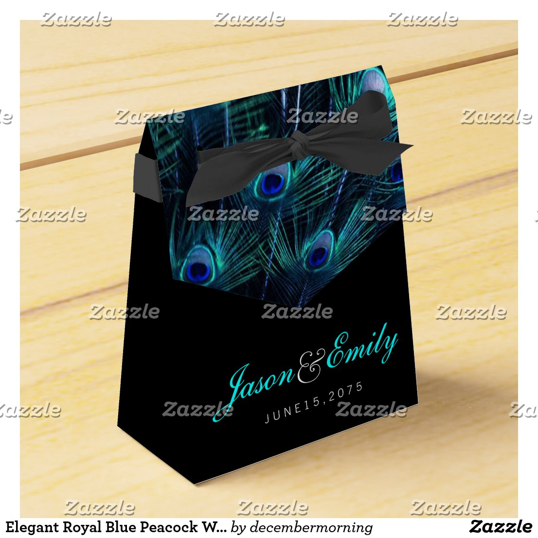Elegant Royal Blue Peacock Wedding Favour Box