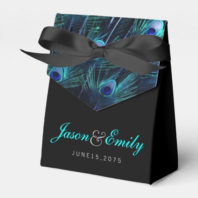 Elegant Royal Blue Peacock Wedding Favour Box