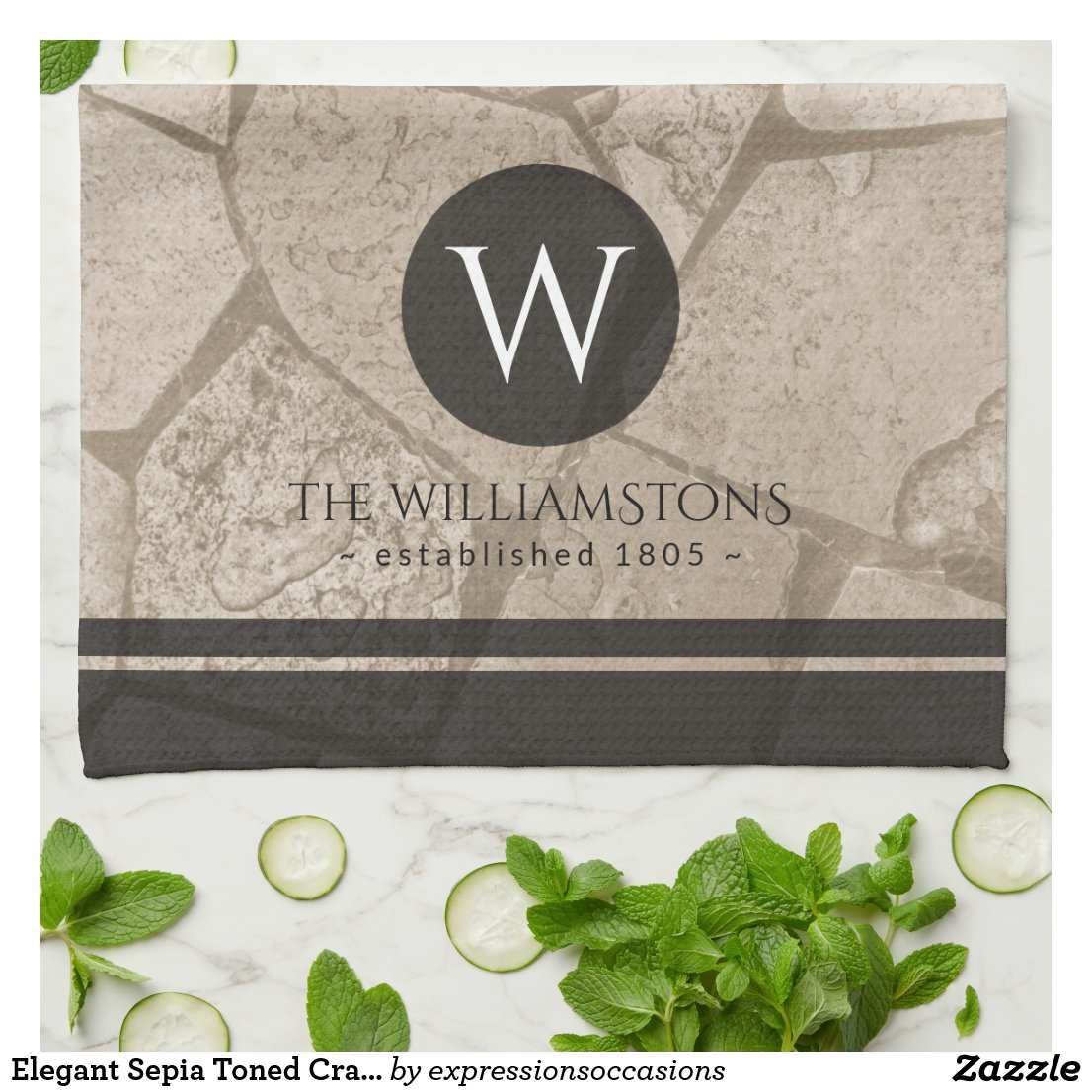 Elegant Sepia Toned Cracked Stones Tea Towel