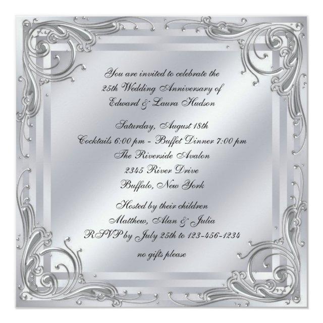 Elegant Silver Swirl 25th Wedding Anniversary