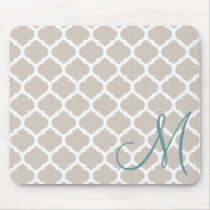 Teal Monogram Mouse Pad