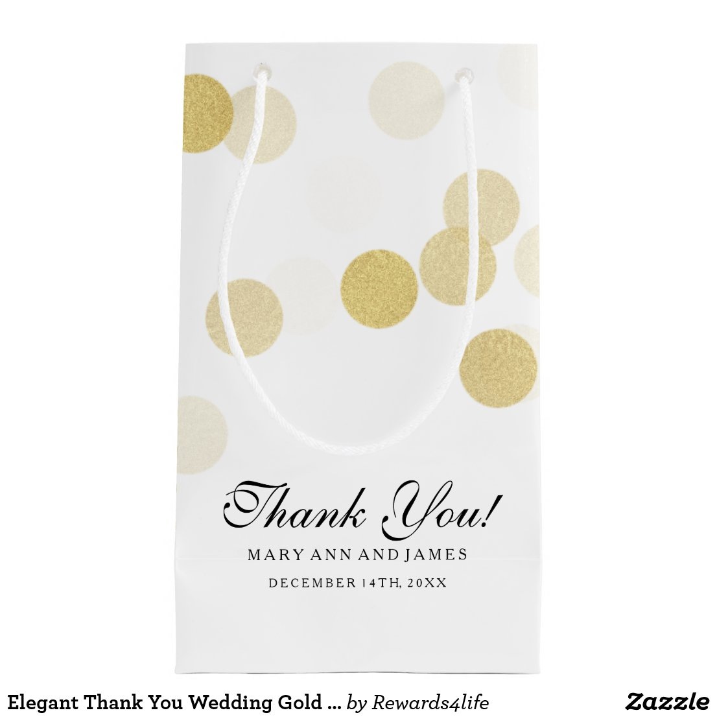 Elegant Thank You Wedding Gold Foil Glitter Lights Gift Bag
