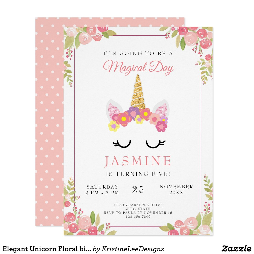 Elegant Unicorn Floral birthday Polka Dots Invitation