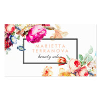 Beauty business cards personalised business cards elegant vintage chic floral striped beauty salon business card reheart Image collections