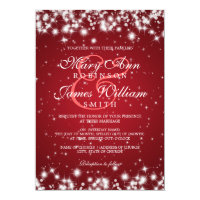 Elegant Wedding Winter Sparkle Red 5x7 Paper Invitation Card