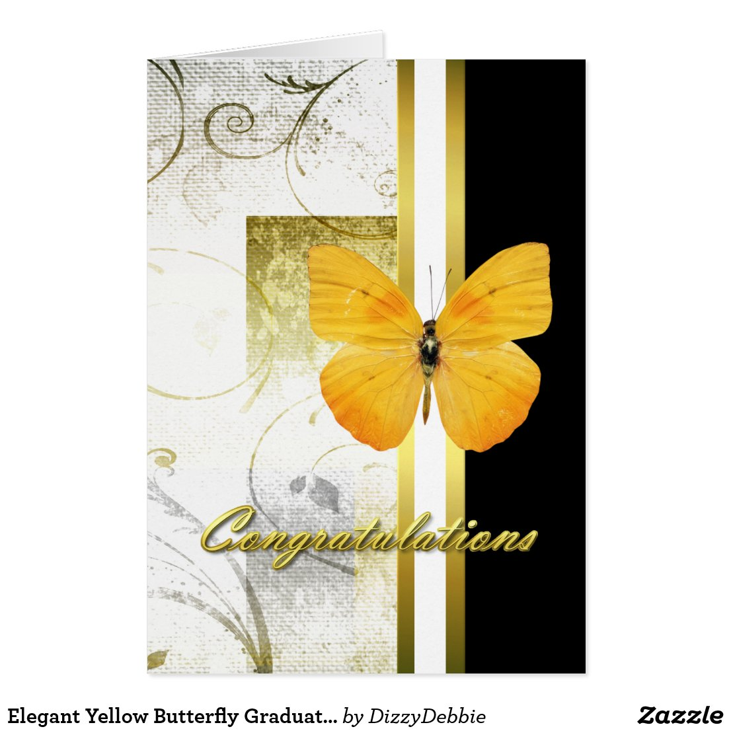 Elegant Yellow Butterfly Graduation Card