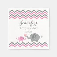 Elephant Baby Shower Napkins Pink Gray Chevron Standard Cocktail Napkin
