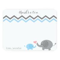 Elephant Baby Shower Thank You Blue Gray Chevron 4.25x5.5 Paper Invitation Card