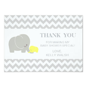 Elephant Baby Shower Thank You Note Chevron Invitation