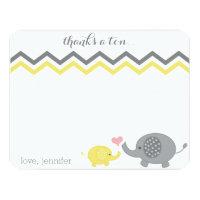 Elephant Baby Shower Thank You Yellow Gray Chevron 4.25x5.5 Paper Invitation Card