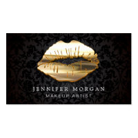 Eye Catching 3D Black Gold Lips Makeup Artist Business Card