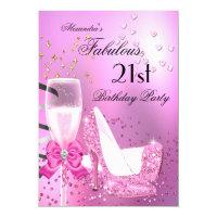 Fabulous 21st Shimmer Light Pink Heels Birthday 2 Card