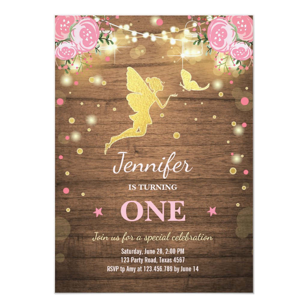 Fairy Birthday Invite Pink Gold Magical Whimsical