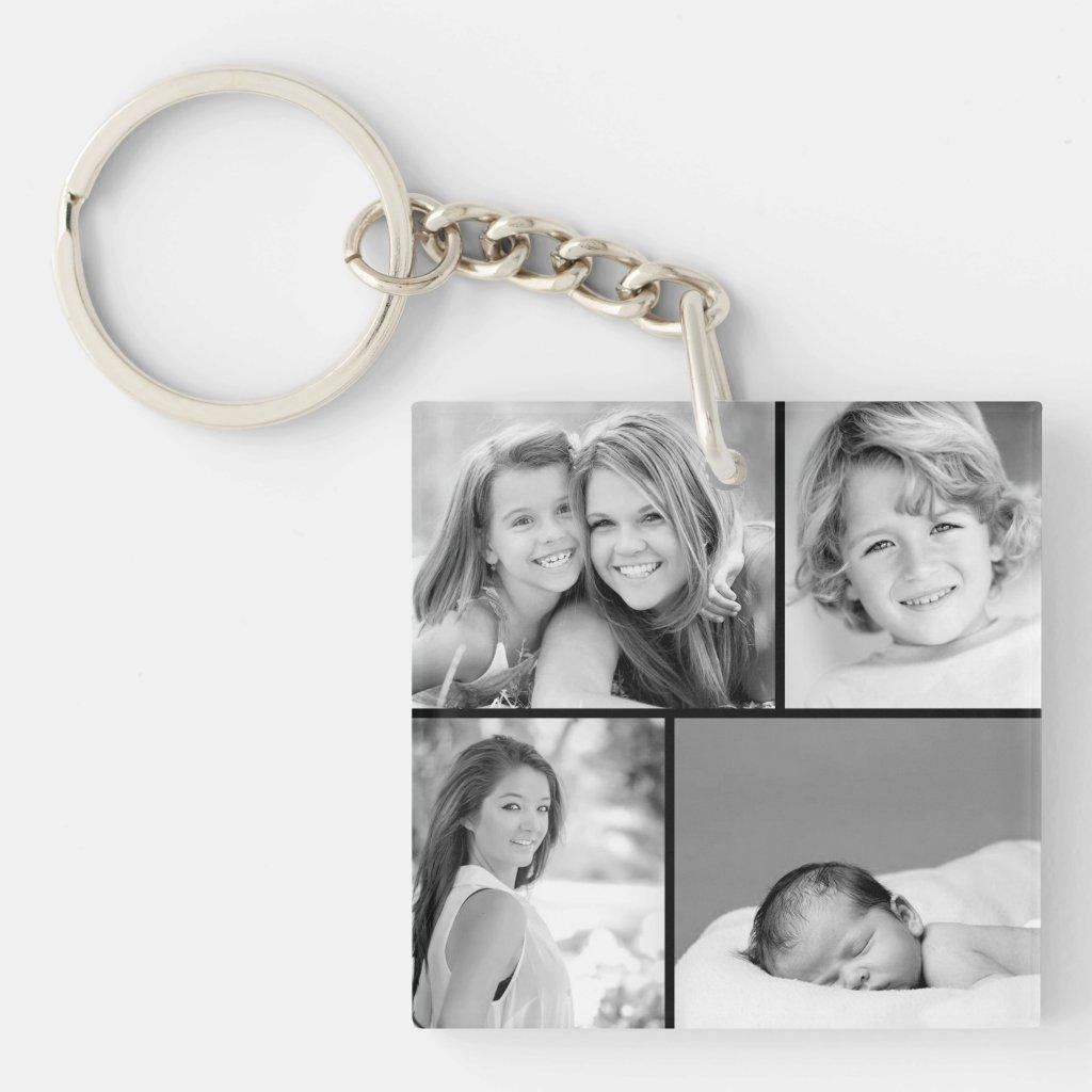 Family Photo Collage Keyring